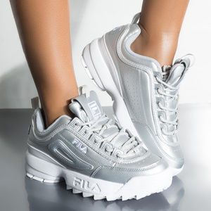 NEW FILA Silver Leather Platform Sneakers